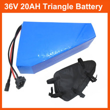 More Discount 500W 800W 1000W 36V Triangle battery 36V 20AH Electric Bike lithium ion battery pack with 30A BMS 42V 2A charger(China (Mainland))