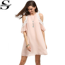 Buy Sheinside Pink Cold Shoulder Round Neck Half Sleeve Appliques Shift Mini Dress Cute Summer Women Short Dress for $15.98 in AliExpress store