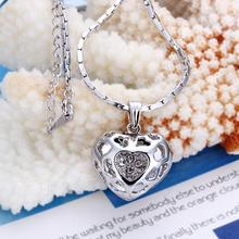 Free shipping Fashion jewlery Wholesale 18K Gold Plating Crystal Hollow Heart Pendants Necklace For Women Accessories