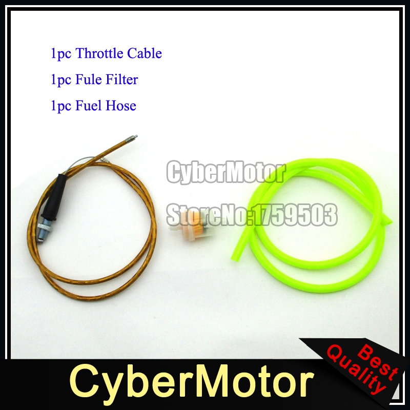 Gold Throttle Cable Gas Fuel Hose Tube Filter Cleaner For Chinese Dirt Pit Bike Motorcycle XR50 CRF50 CRF70 SSR KLX110 Lifan(China (Mainland))
