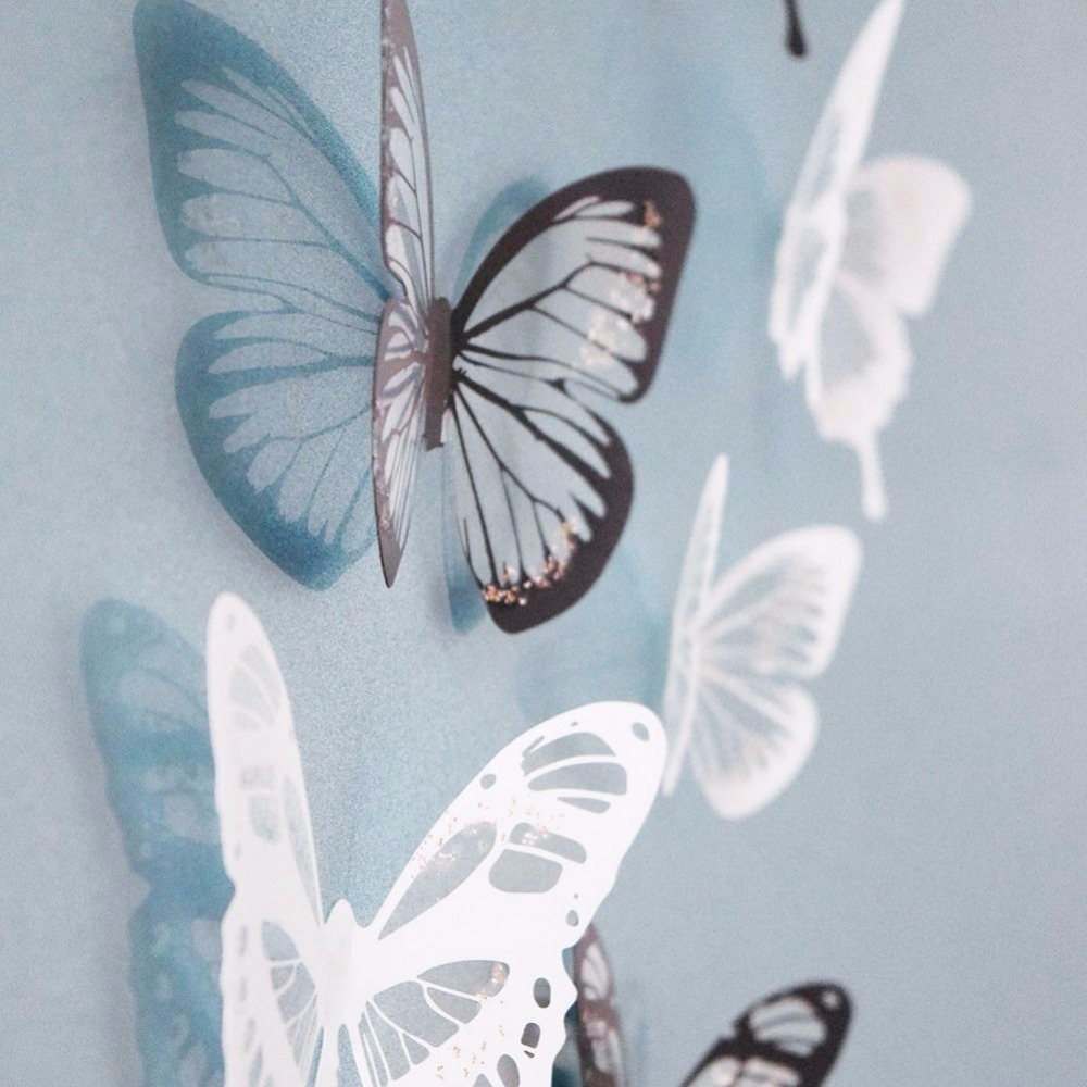 18Pcs/lot Butterflies 3d Wall Stickers PVC Removable Decors Art DIY Decorations fridge magnet wedding Christmas decorations(China (Mainland))