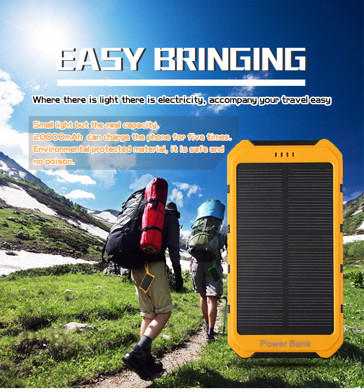 20000mAh Dual USB Portable External Solar Energy Battery Charger Power Bank With V8 Cable For Apple For iPad For iPhone(China (Mainland))