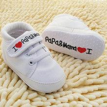 Милый форме Сердца I Love Мама И Папа Прекрасный Детская Обувь для Девочек Мягкое Дно Обувь Новый(China (Mainland))