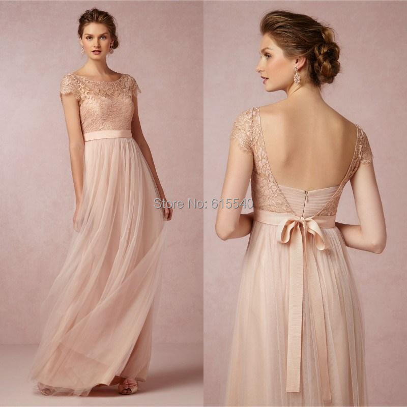New Arrival Long Bridesmaid Dress Scoop Short Sleeves Lace ...