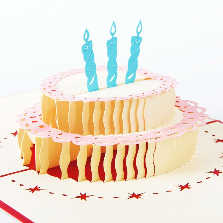 1Pcs 13*15.5cm Cake Multicolor 3D Pop Up Card With Vintage For Best Wishes Of Birthday Greeting Card(China (Mainland))