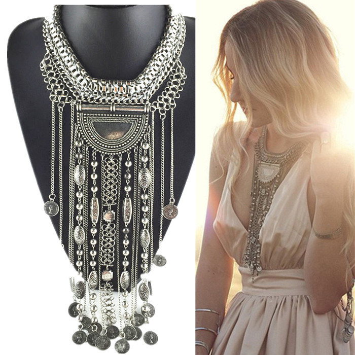 New arrivel Big Brand exaggerated Coin Pendents Necklaces Long Tassel Statement Necklaces Choker Vintage Necklaces Women Dress(China (Mainland))
