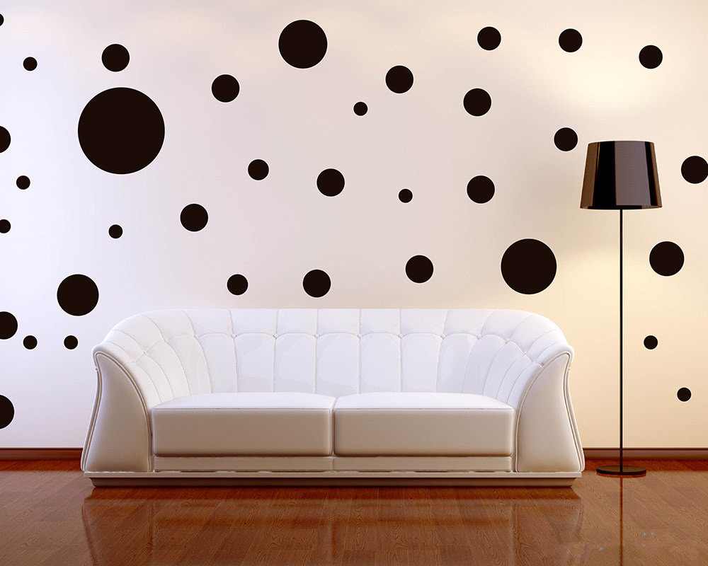 64pcs Lot 6size Mixed Polka Dots Wall Decal Assorted Size