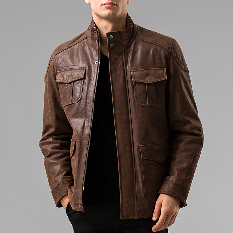 S-6XL Men's Genuine Leather jacket Pigskin Real leather jackets Men pig leather coat motorcycle jacket(China (Mainland))