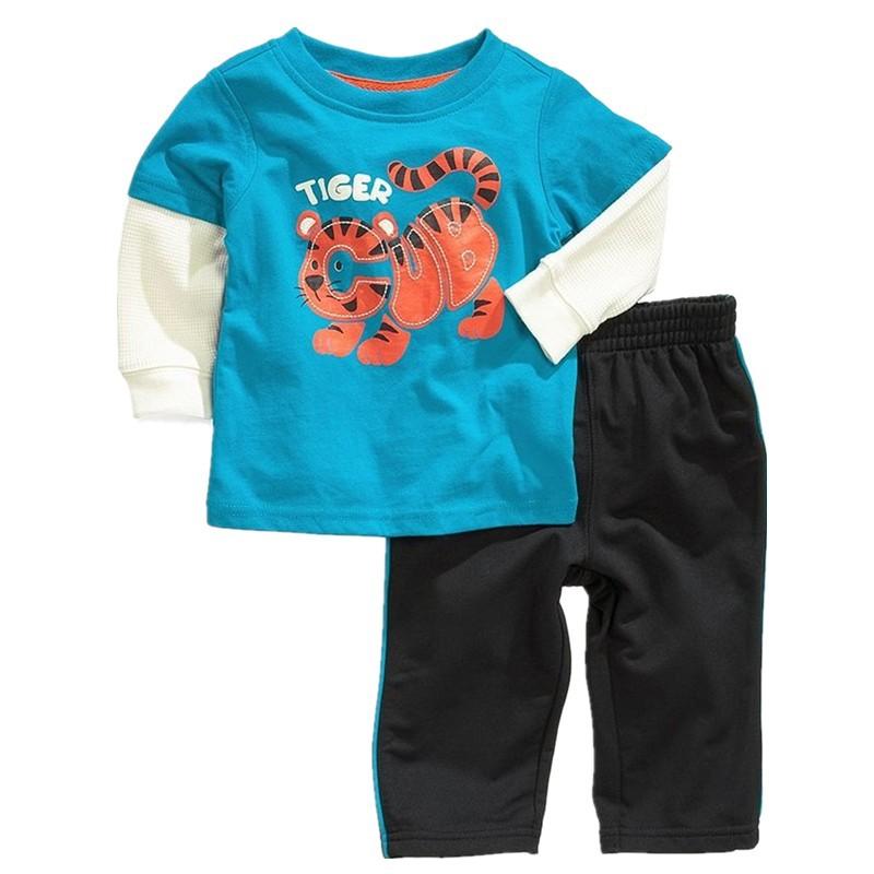 Cotton Kids Boys Tiger Patterned Suit Casual Longsleeve shirt+pant 2pcs Children's set Bebe terno Pajama Baby 18M-6Y Autumn gaps(China (Mainland))