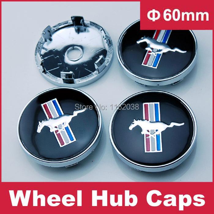 4pcs W199 60mm Car Emblem Badge Wheel Hub Caps Centre Cover Black Mustang Cobra Jet Shelby(China (Mainland))