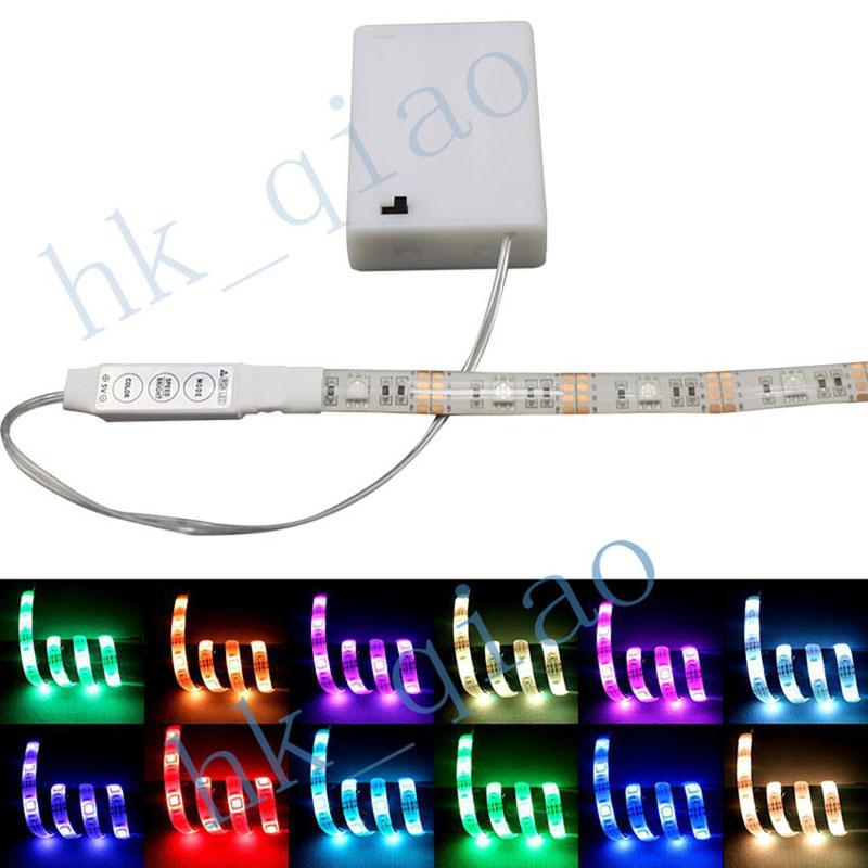 50 500cm waterproof rgb led strip light flexible led bar lights battery power with led. Black Bedroom Furniture Sets. Home Design Ideas