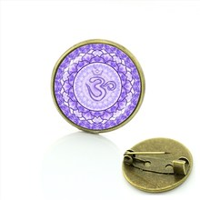 TAFREE Drago bulbo oculare spilla pin art immagine di vetro cabochon cupola gelo dragon eye distintivo delle donne yoga mandala spille gioielli T778(China)