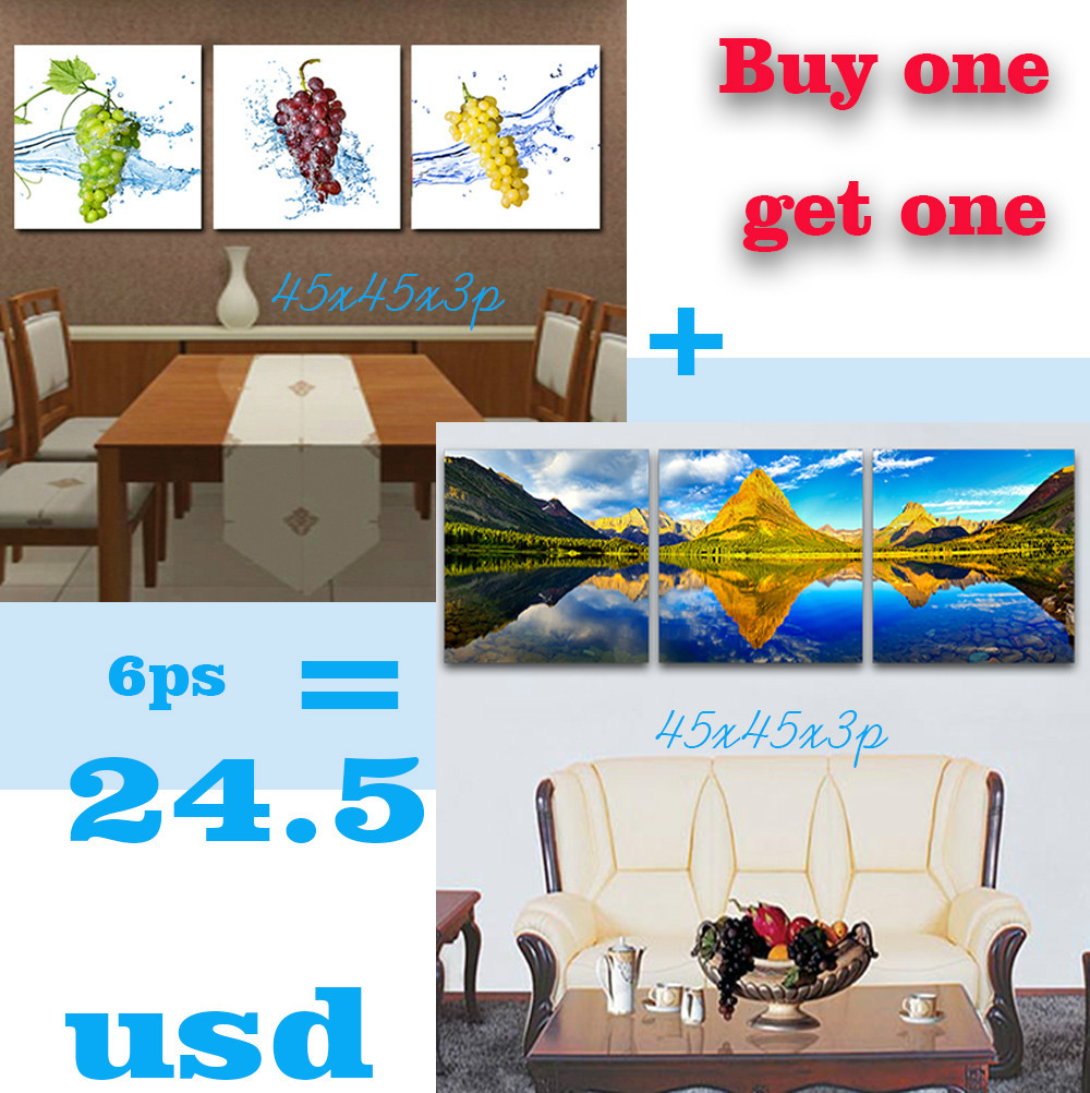 2015 Promotion New Painting Landscapes Fruit Three Sets Of Inexpensive Modern Oil Print Pictures Discounted Promotional Price(China (Mainland))