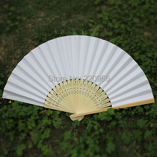 free shipping white paper hand fan 230pcs/lot 21cm with natural bamboo ribs for party decoration(China (Mainland))