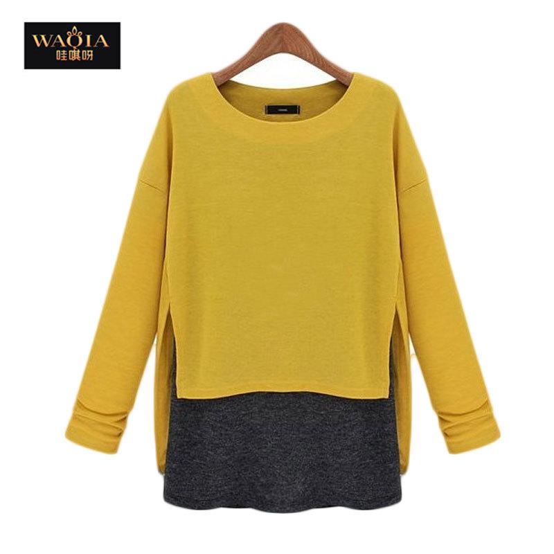 NEW 2015 fashion women girl sweater clothing women tops tee blusa sloose faux two piece set