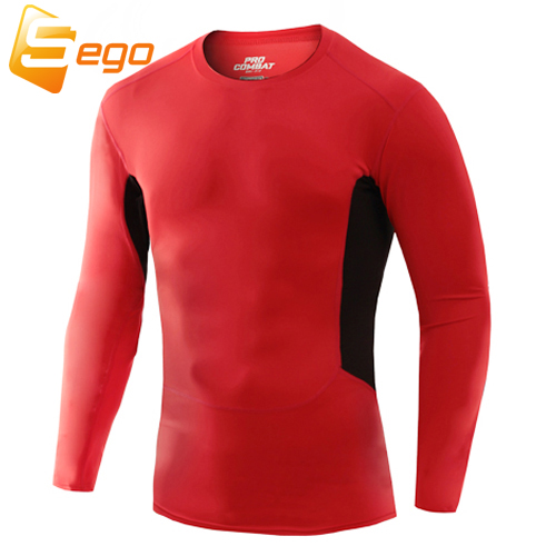 NEW! Tight-fitting elastic Men's Pro sport fitness bodybuilding T shirt compression shirt extended t-shirt casual T shirts(China (Mainland))