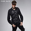Punk Rave Denim Bamboo Fabrics Spliced Leather Long Sleeve Shirt Latest Fashion Mens Y 563