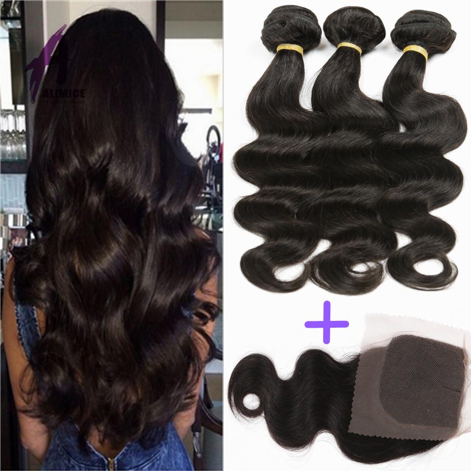 Brazilian Virgin Hair Body Wave With Closure 7A  Alimice  Brazilian Hair Bundles With Lace Closure 4 Bundles With Lace Closure <br><br>Aliexpress