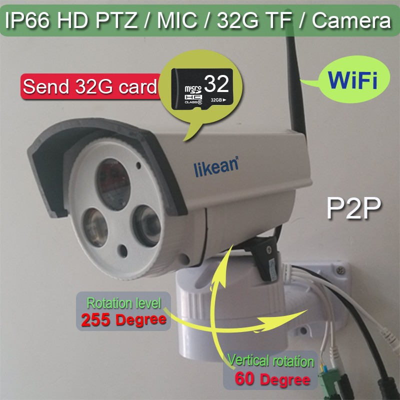 Free Shipping HD 720P 1 MP Plug And Play Camera IP IP66 WIFI HD Wireless Mic Cam With PTZ P2P Function Send 32G card LIKEAN(China (Mainland))