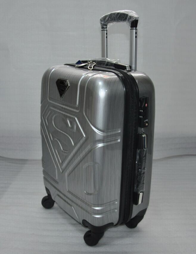 24 inch 42cmx24cmx65cmabs plastic superman pattern trolley 4 wheels travel luggage or suitcase for unisex(China (Mainland))