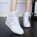 KUYUPP Casual Women Shoes Height Increasing Winter Casual Shoes Women Sport Pu Leather Shoes Round Toe