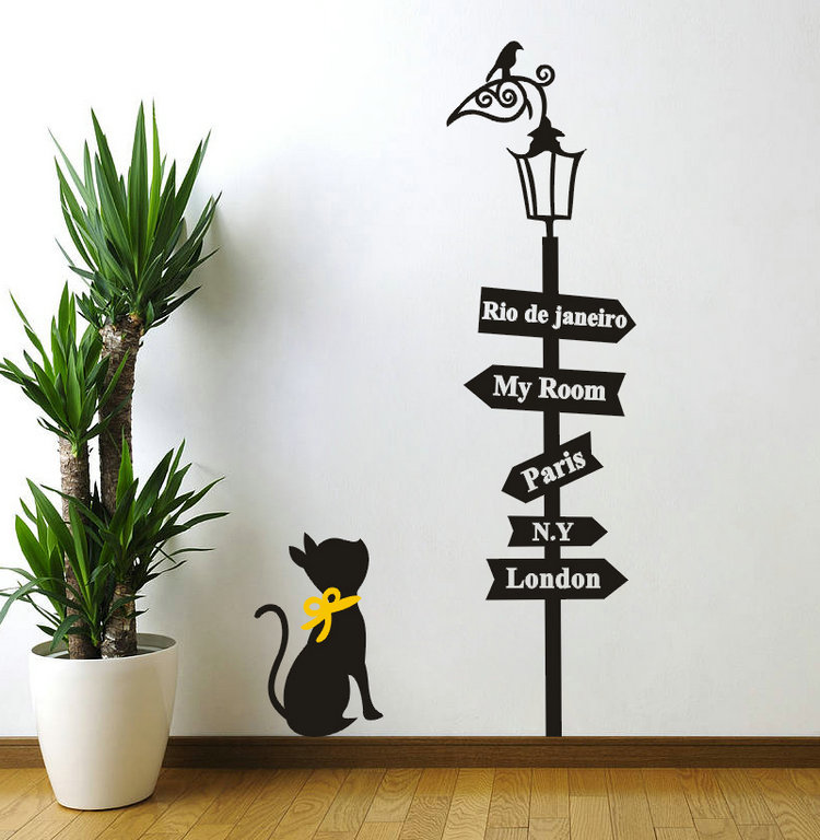 Black Cat Bird Street Lamp Road Sign Wall Sticker Room Poster Adhesive Removable DIY Wallsticker(China (Mainland))