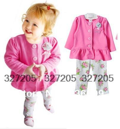 baby clothes girls cute clothing sets spring autumn kids long sleeve shirt pants suits brand baby wear s133(China (Mainland))