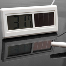 Potable Waterproof Solar Powered Digital LCD Thermometer Sensor Hydrothermograph With Cable 1M(China (Mainland))