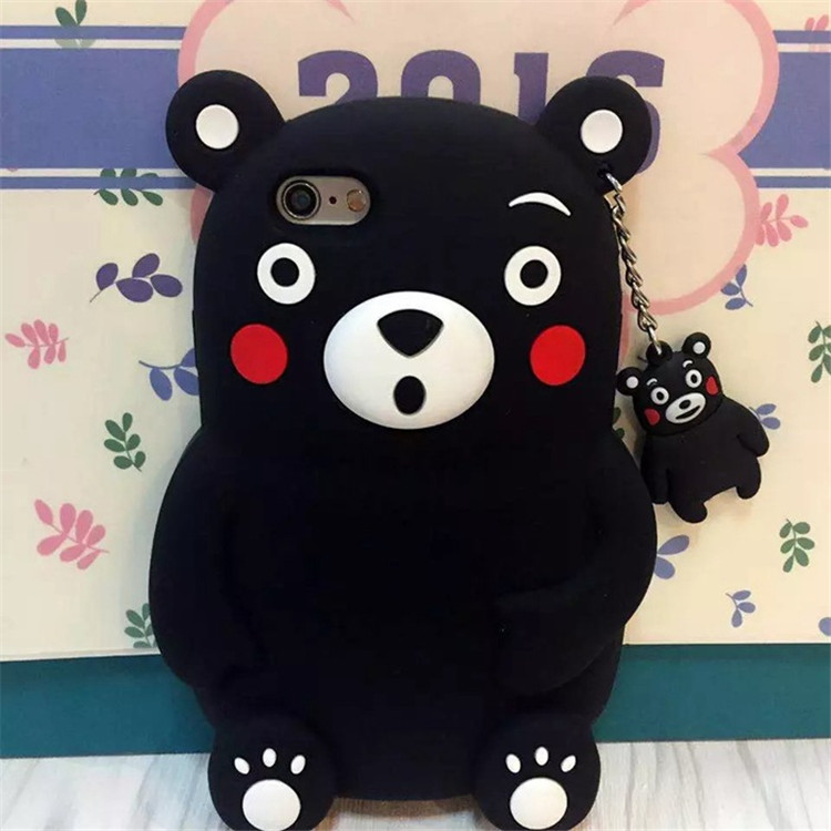 Japan cute red-faced 3d Kumamoto bear drop resistance silicone Phone Case For Iphone 5 5s 6 6s plus With pendant cartoon(China (Mainland))