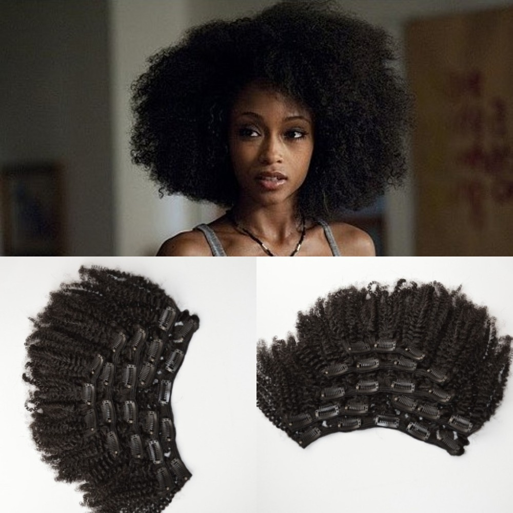 Free ship Mongolian virgin hair 4a/4b/4c afro kinky curly clip in hair extensions for African American(China (Mainland))
