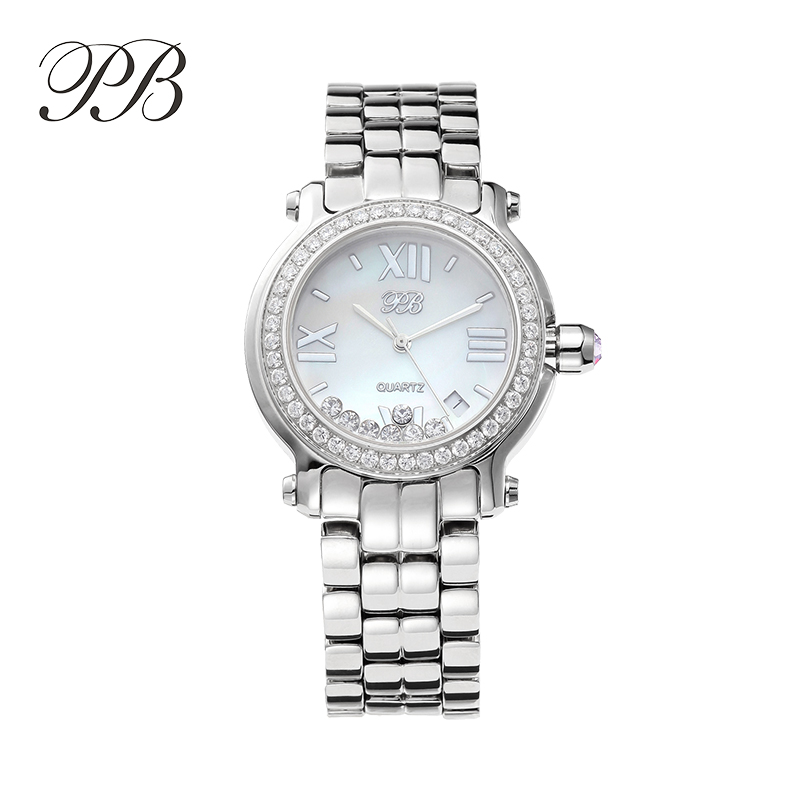PB watch Luxury&business lady watch,Sapphire crystal surface and mini crystal around of dial,stainless steel woman watch(China (Mainland))