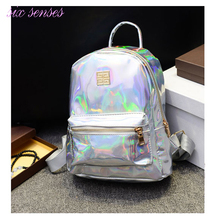 New Arrival Hologram Laser Backpack Girl School Bag Women Rainbow Colorful Metallic Silver Laser Holographic Backpack,MF1619(China (Mainland))