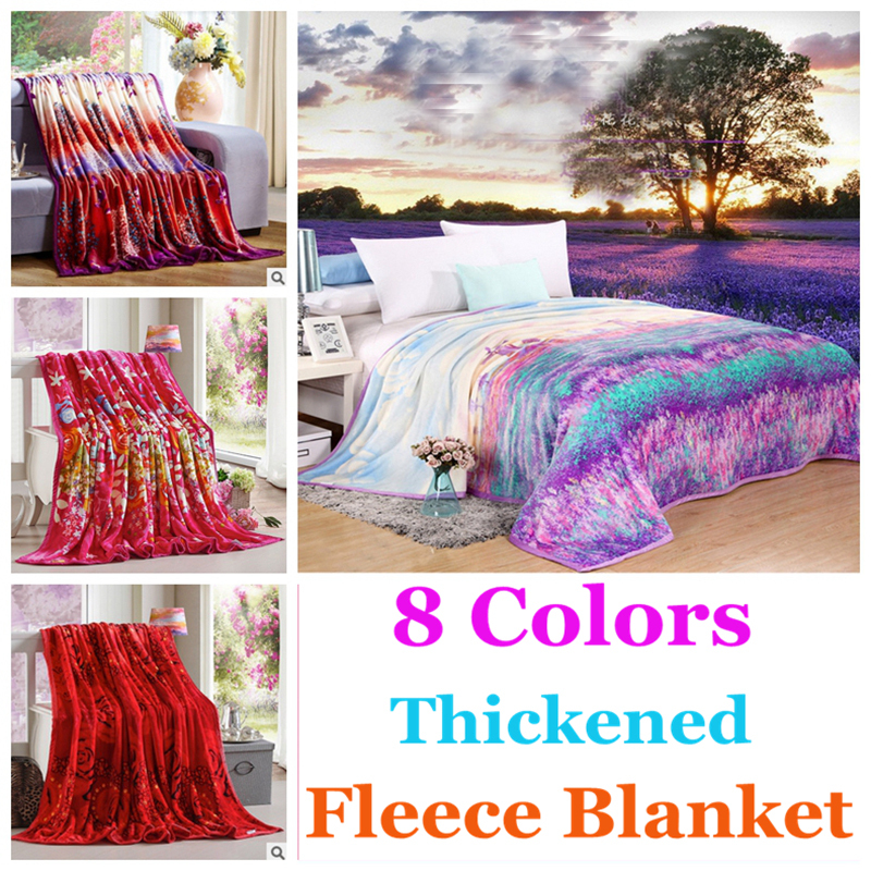 Fleece blanket 8colors 4sizes provence style thickened for Cobertor para sofa