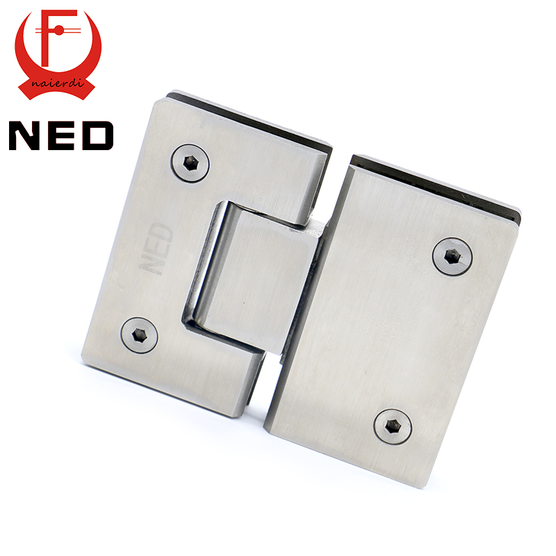 NED-4904 180 Degree Hinge Open 304 Stainless Steel Wall Mount Glass Shower Door Hinges For Home Bathroom Furniture Hardware(China (Mainland))