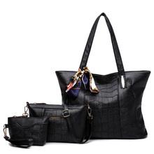 3 Sets 2017 Vintage Women Handbags Scarves Leather Women Messenger bags Ladies Designs Crossbody bag Handbag+Shoulder Bag+Purse(China (Mainland))