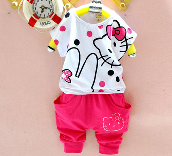 2015 Sale Kids Hot Selling Summer Baby Girl Clothes Cartoon Batwing Tees+shorts 2 Pcs Chidlren's Suit Hello Kitty Tracksuit