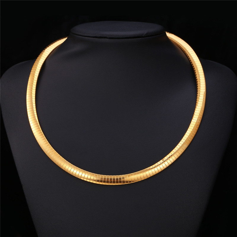Kpop Women Snack Choker Necklace Men Chain Flat snake Jewelry Gold Color 316L Stainless Steel New Trendy Fashion N212(China (Mainland))