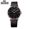 Mens watches top brand Luxury HAIQIN Waterproof Watch men Leather Casual mens Quartz Watch Males wrist