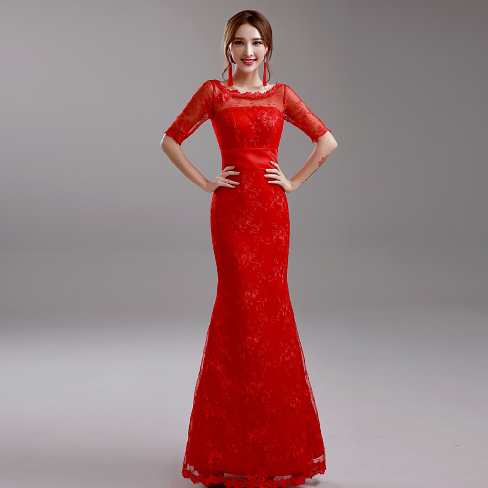 new brand 2016 sexy red lace half sleeve trumpet prom dresses bow plus size dress.9270 ty,(China (Mainland))