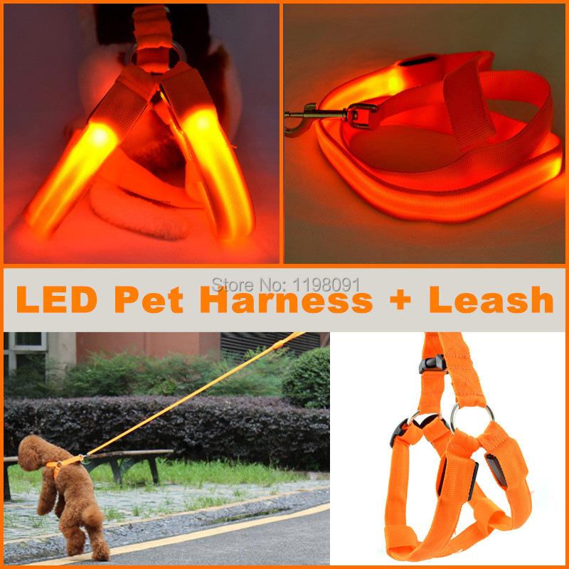 Cool Safety Adjustable LED Pet Dog Harness + LED Leash Flashing light Dog Harness Pets Leash XS/S/M/L 7 Colors Free Shipping(China (Mainland))