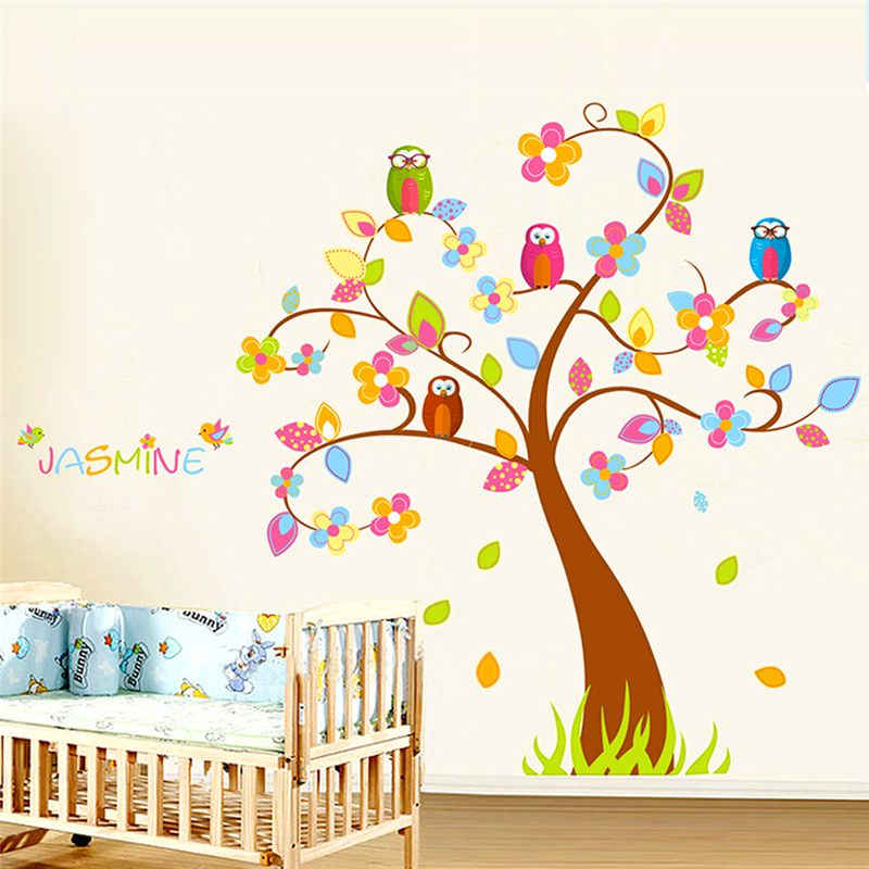 Cartoon Jungle Tree Wall Stickers For Kids Rooms Bedroom