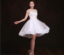 2016 New White Ivory Short Wedding Dresses Brides Sexy Lace Wedding Dress Bridal Gown Vestido De Noiva Real Sample(China (Mainland))