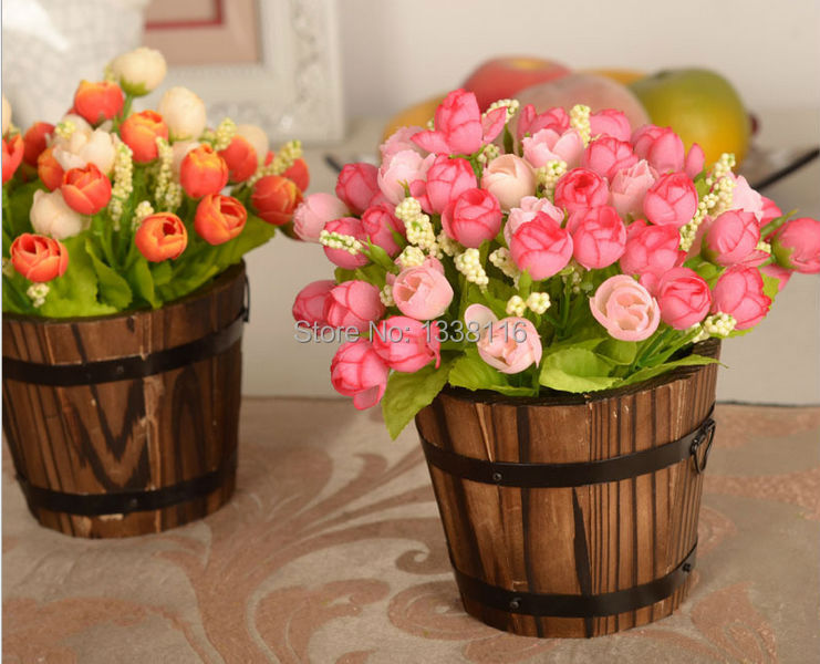 1 set wooden barrel + flowers rose and Daisy artificial flower set silk flowers home decoration Birthday Gift(China (Mainland))