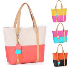 2015 Spring New Bolsa De Franja Fashion Orange Bags Women Pu Leather Handbags Zipper Panelled Shoulder-Bag Sac A Main Marques