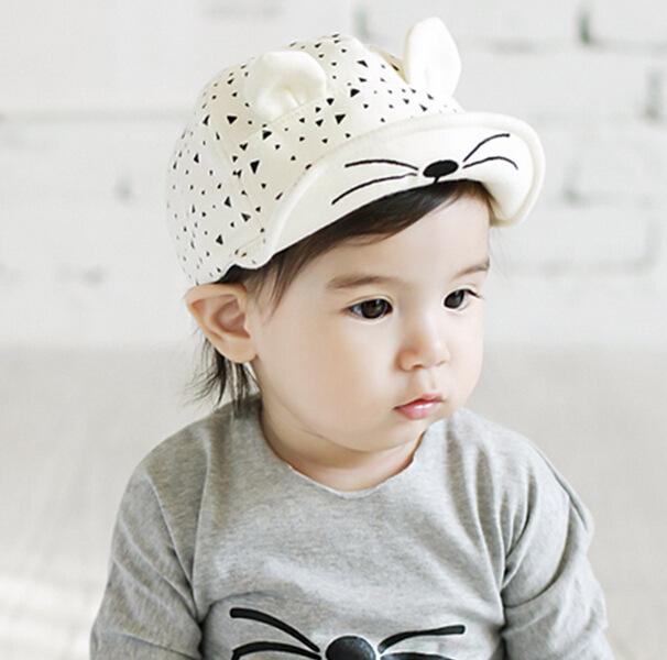 2016 New Cartoon Peaked Baseball Cap for Baby Boy Girl Infant Spring Summer Cotton Sun Flat Hats Cute Cat Ears(China (Mainland))