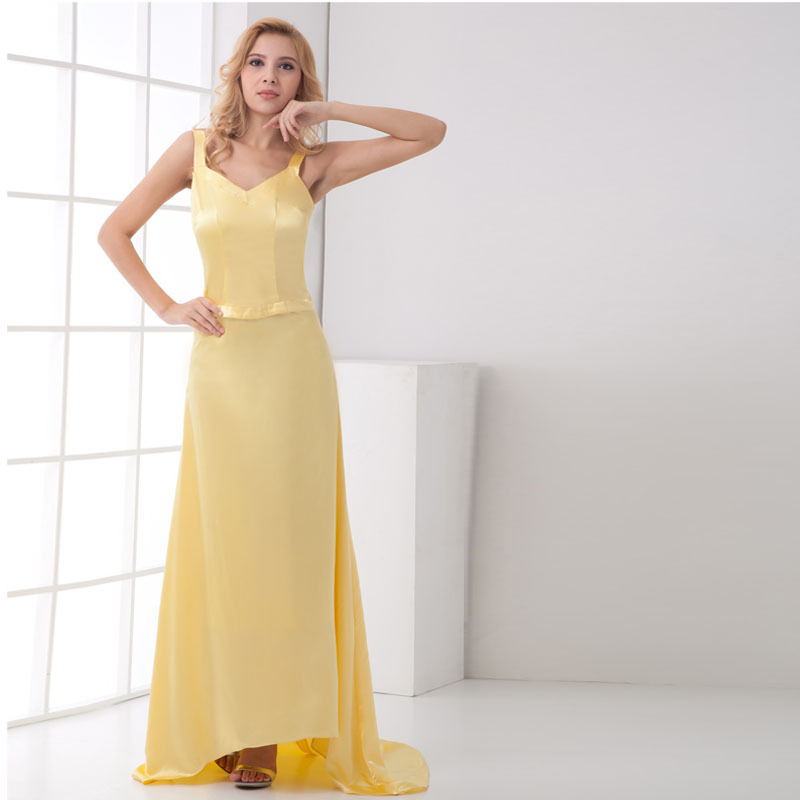 yellow a line satin mother of the bride spaghetti straps. Black Bedroom Furniture Sets. Home Design Ideas