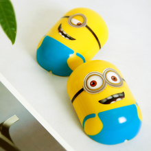 HOT Despicble Me Minions LED Table Wall Night Light Lamp with Wall Stickers DIY Fashion Kids Night Lights, 2 Styles of Eyes(China (Mainland))