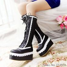 Boots PU Women Large size small yards EUR 31 32 33 40 41 42 43 44 45 46 high heel 8.5CM Platform 6CM Size 30-47 - Emma's Fashion shoes store
