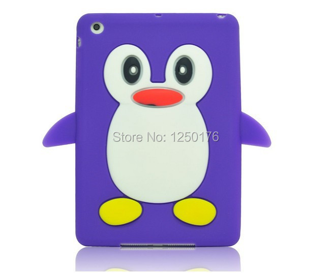Cute Cartoon Penguin Soft Silicone Cover Skin Case for iPad Mini Tablet Cheap Covers And Cases Free Shipping(China (Mainland))