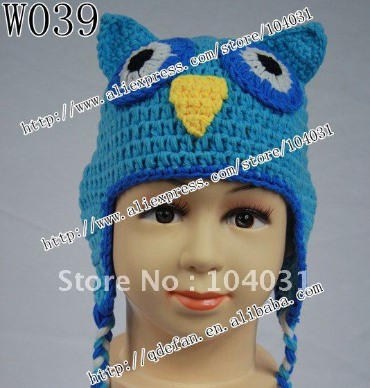 Free shipping (20 pcs/lot) 100% cotton knitting earflap owl blue beanie hats crochet patterns 2012 new arrivals(China (Mainland))